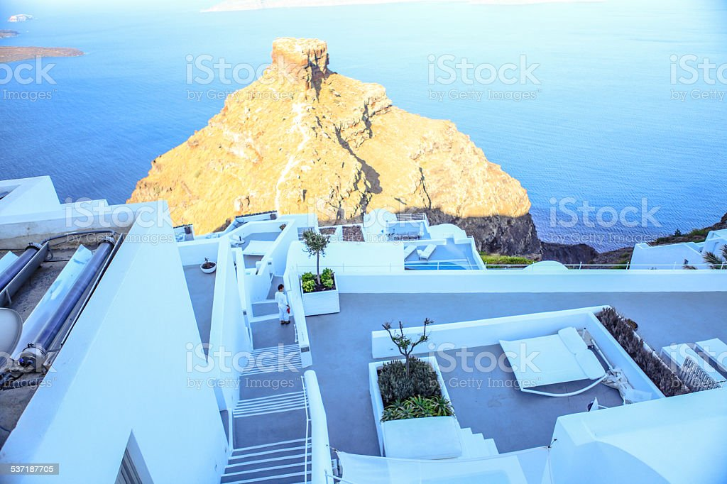 Colorful old staircase and traditional architecture on island of Santorini stock photo