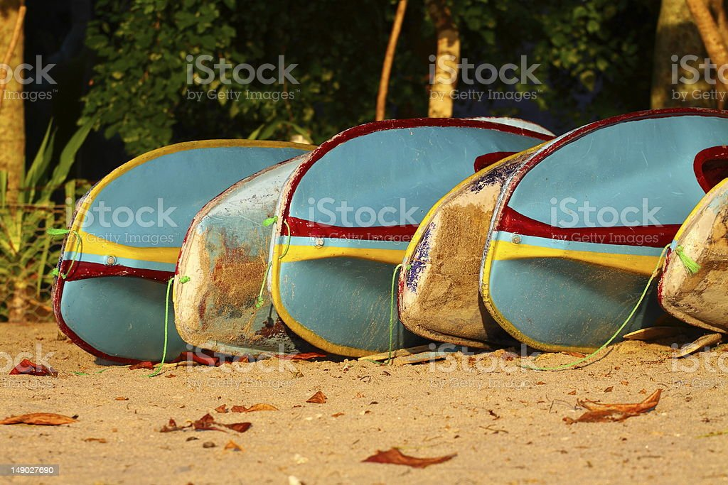 Colorful old surf boards royalty-free stock photo