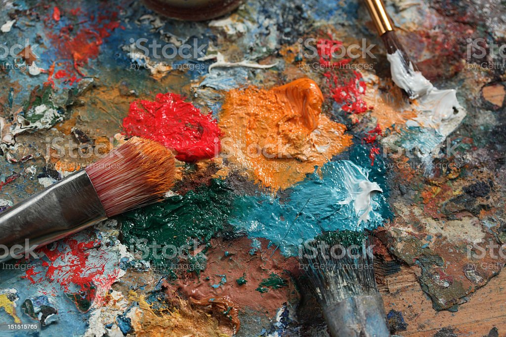 Colorful on palette royalty-free stock photo