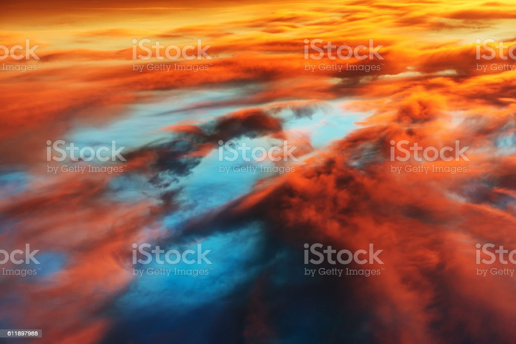 Colorful orange and blue dramatic sky stock photo