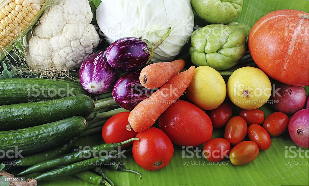 Colorful organic vegetables from farm on display royalty-free stock photo