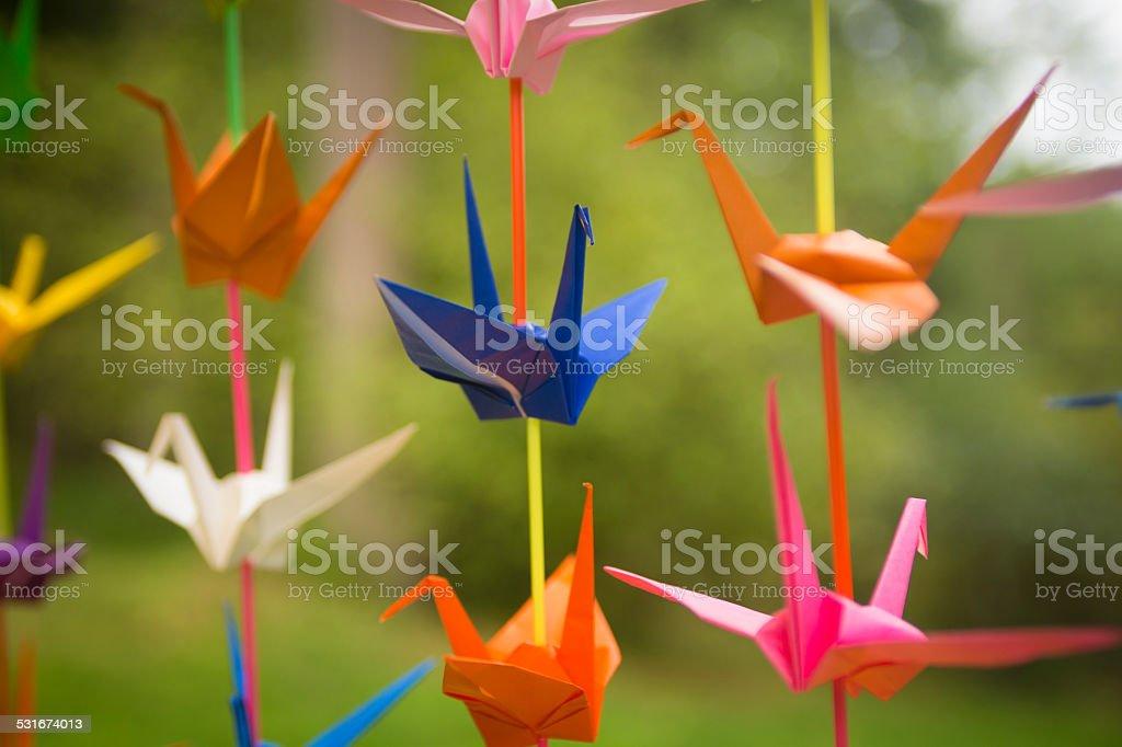 Colorful Origami Cranes stock photo