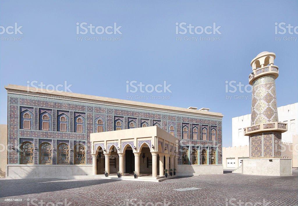 Colorful ornamented mosque in Katara village, Qatar stock photo