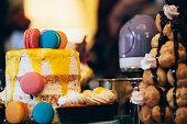 Colorful Ornate Cake with Macaron