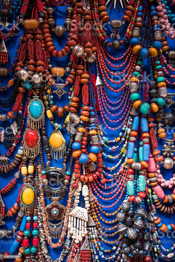 Colorful ornate Moroccan jewelry stock photo