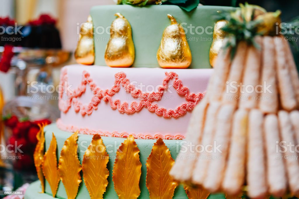Colorful ornated pastry stock photo