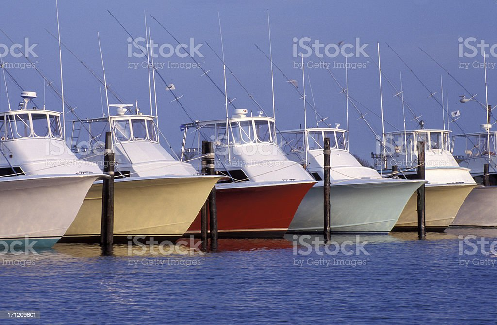 colorful outer banks fishing boats stock photo
