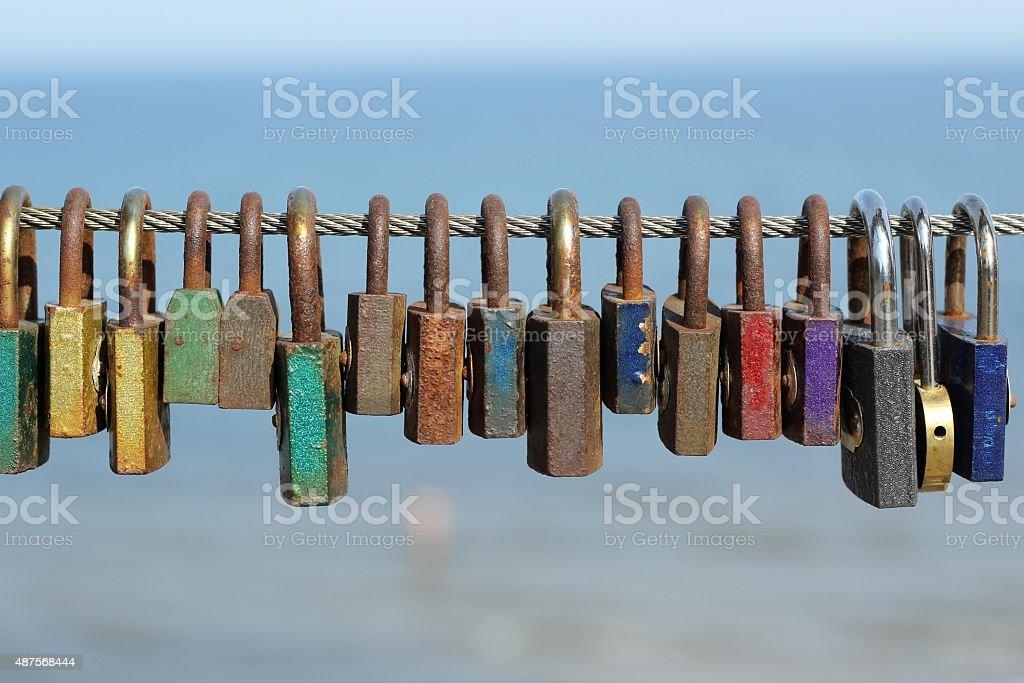 colorful padlocks stock photo