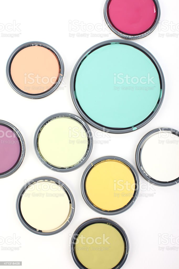 Colorful Paint Can Lids stock photo