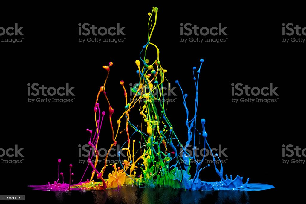 Colorful Paint Spalsh on a Speaker stock photo