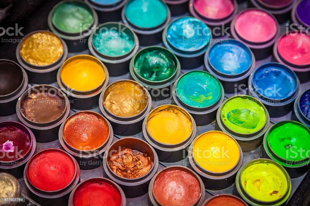 Colorful paint tubes stock photo