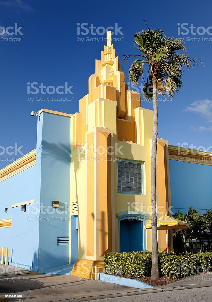 colorful painted Art Deco house Florida stock photo