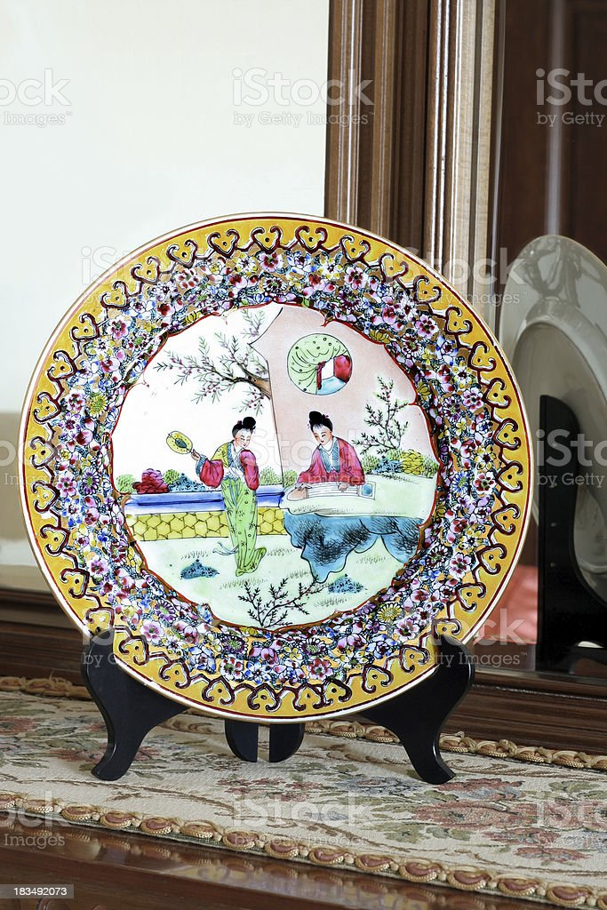 Colorful painted china plate royalty-free stock photo