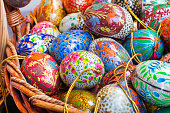 Colorful painted Easter eggs background