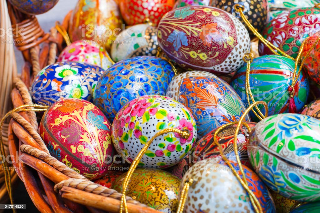 Colorful painted Easter eggs background stock photo