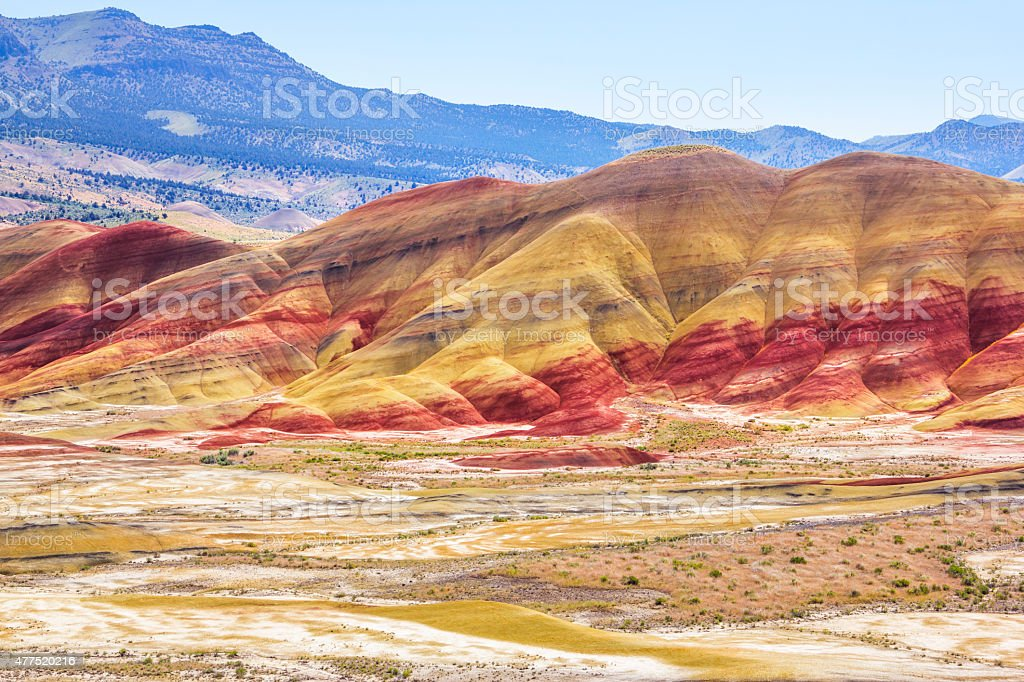 Colorful Painted Hills National Landmark, Oregon stock photo