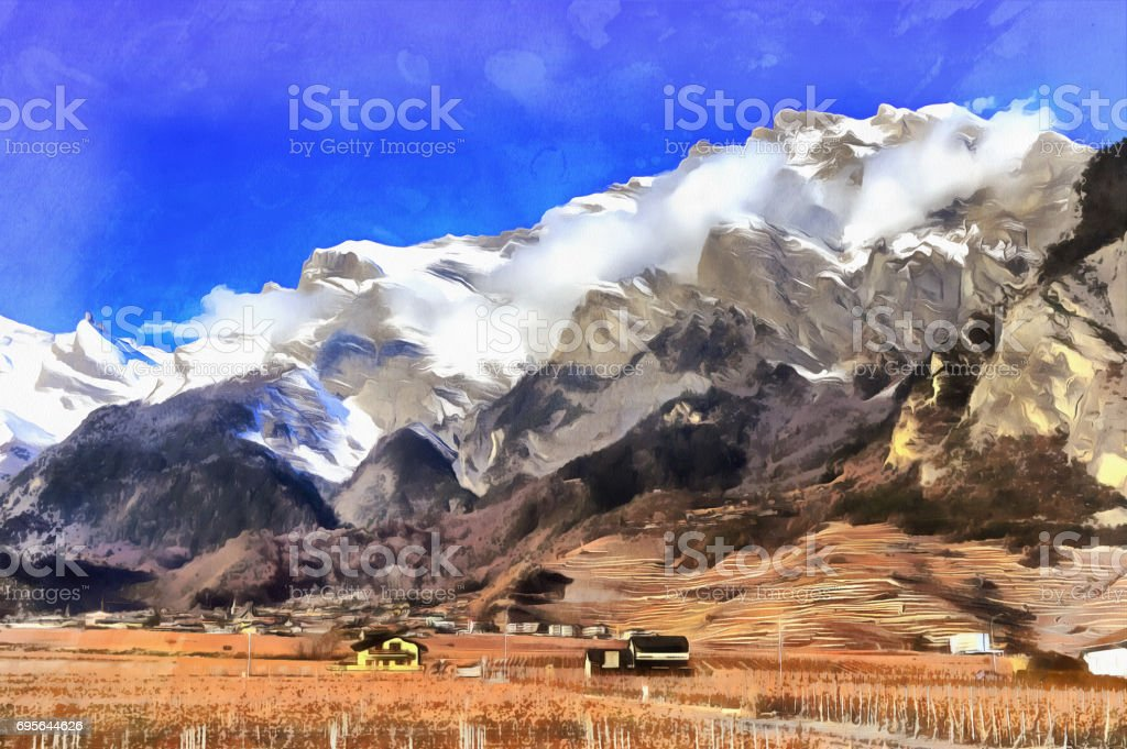 Colorful painting of Rhone valley landscape stock photo