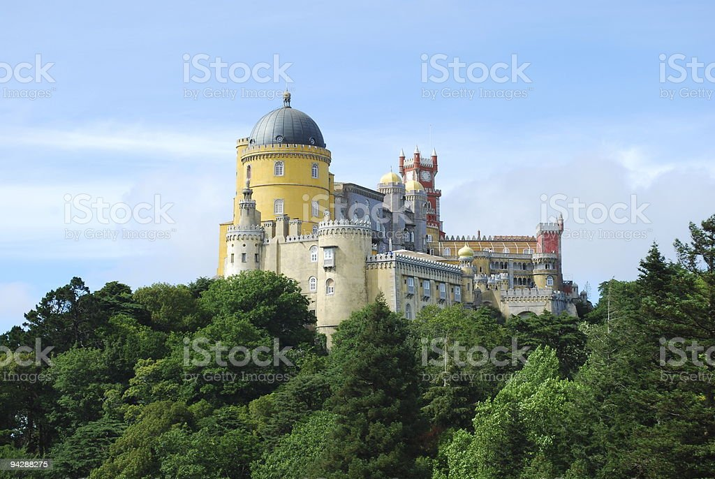 Colorful Palace of Pena landscape view in Sintra, Portugal stock photo