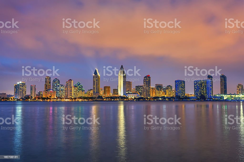Colorful panorama of San Diego with illuminated buildings stock photo