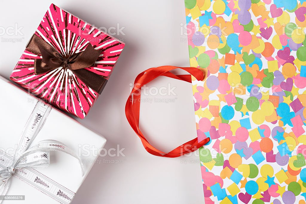Colorful paper bag stock photo