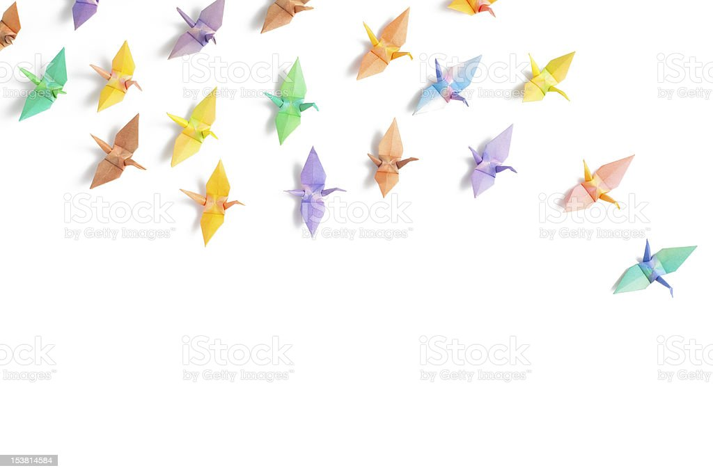 Colorful paper birds stock photo