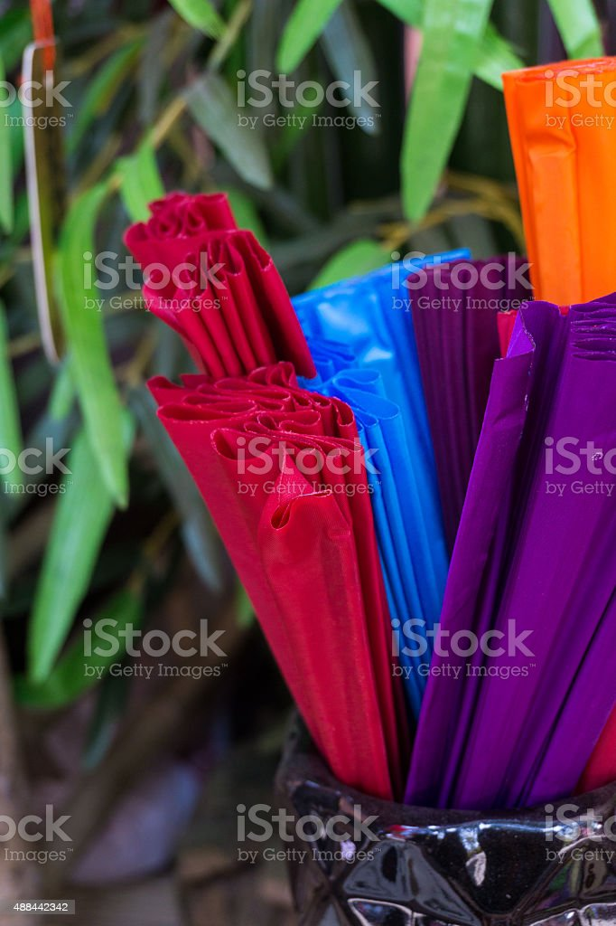 Colorful paper fans stock photo