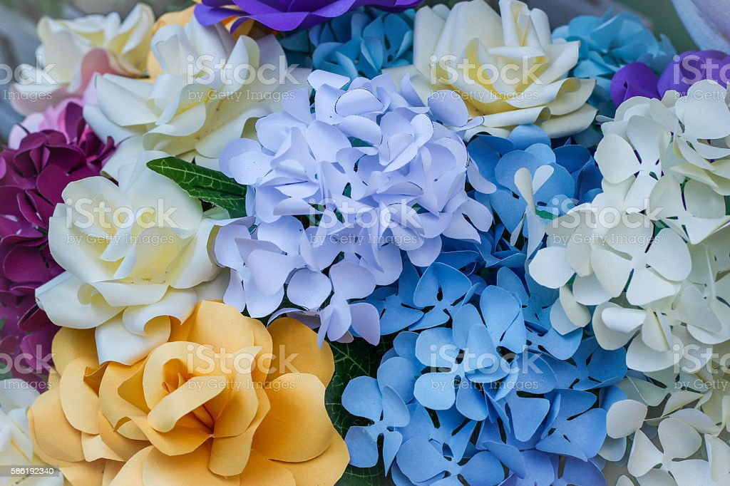 colorful paper flowers stock photo
