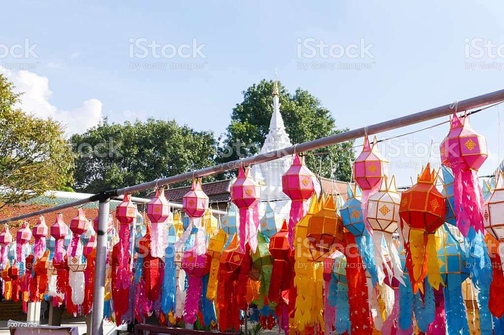 colorful paper lantern decoration for Yeepeng festival stock photo
