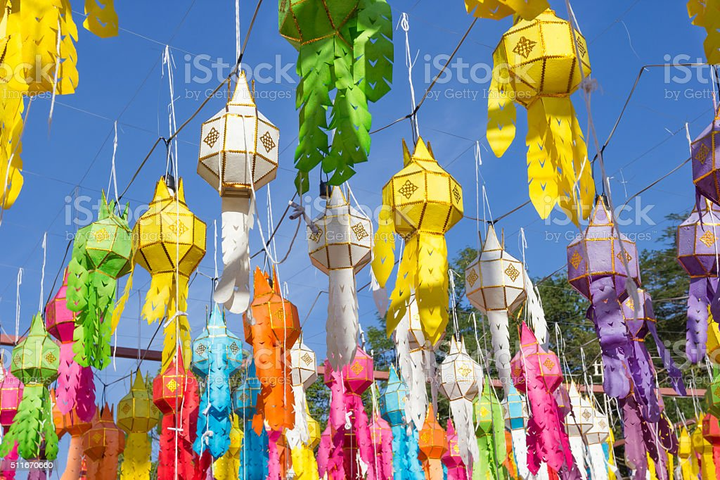 Colorful paper lantern in Nan province, Thailand stock photo