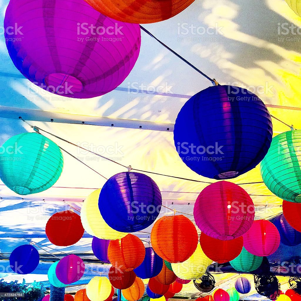 Colorful paper lanterns, balloons at a party stock photo