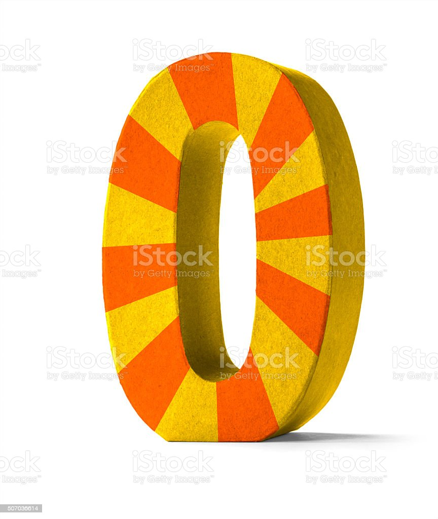 Colorful Paper Mache Number   - Number 0 stock photo
