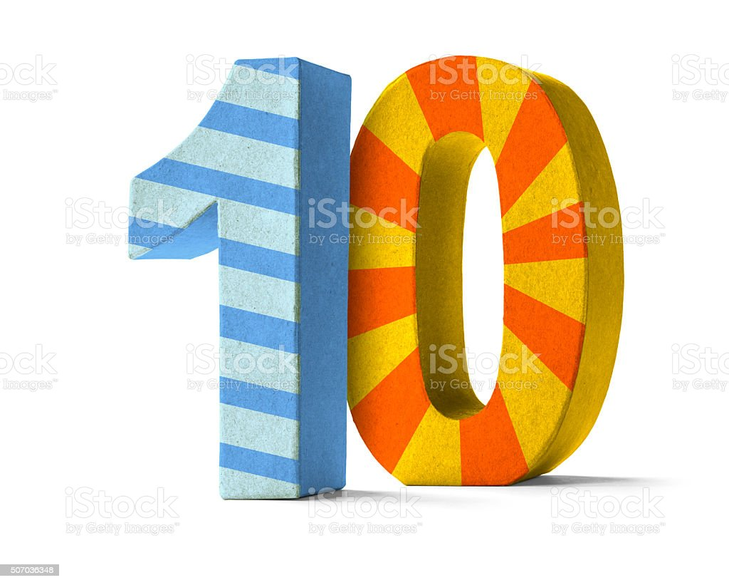 Colorful Paper Mache Number   - Number 10 stock photo