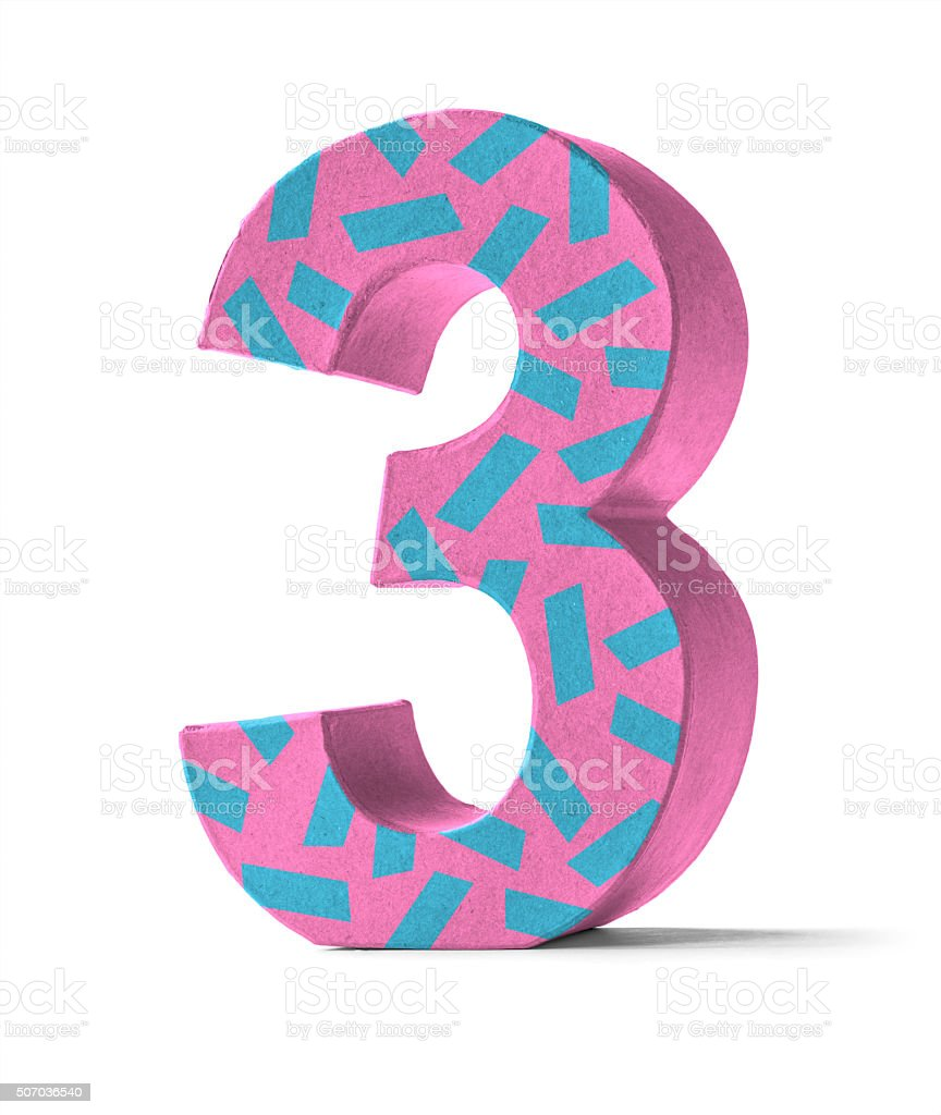 Colorful Paper Mache Number   - Number 3 stock photo