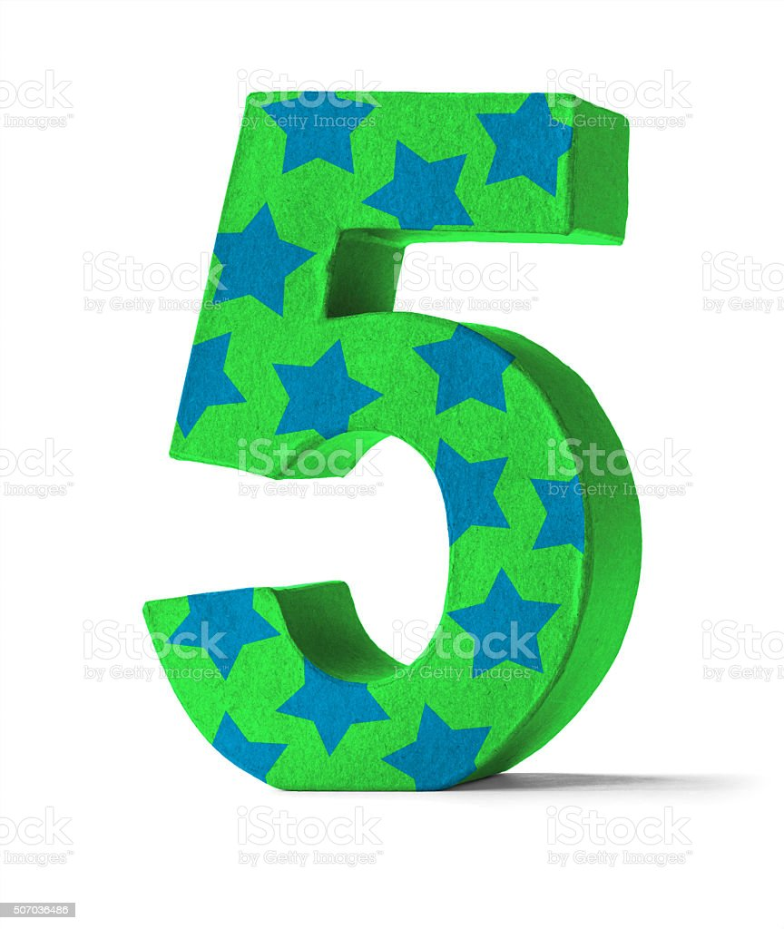 Colorful Paper Mache Number - Number 5 stock photo