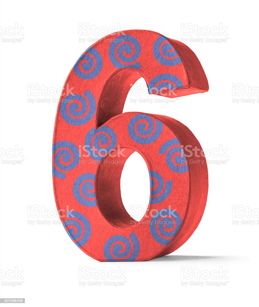 Colorful Paper Mache Number   - Number 6 stock photo