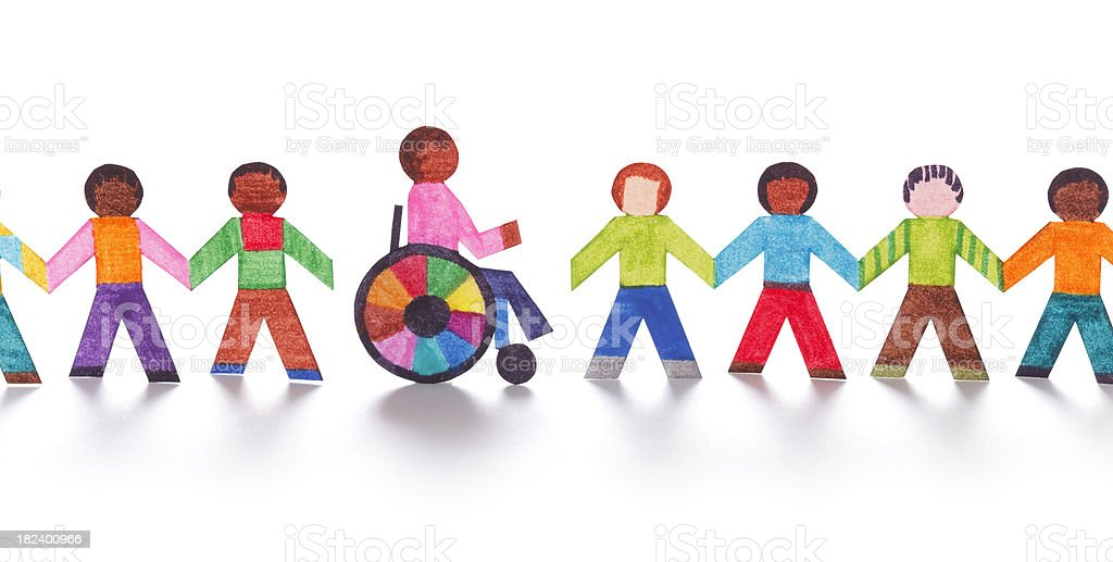 Colorful paper people with wheelchair royalty-free stock photo