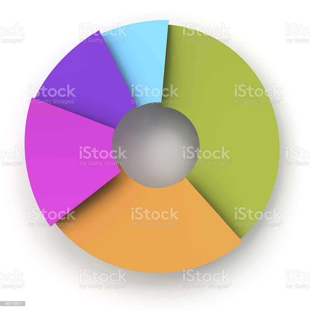 Colorful paper pie chart, 3d render royalty-free stock photo