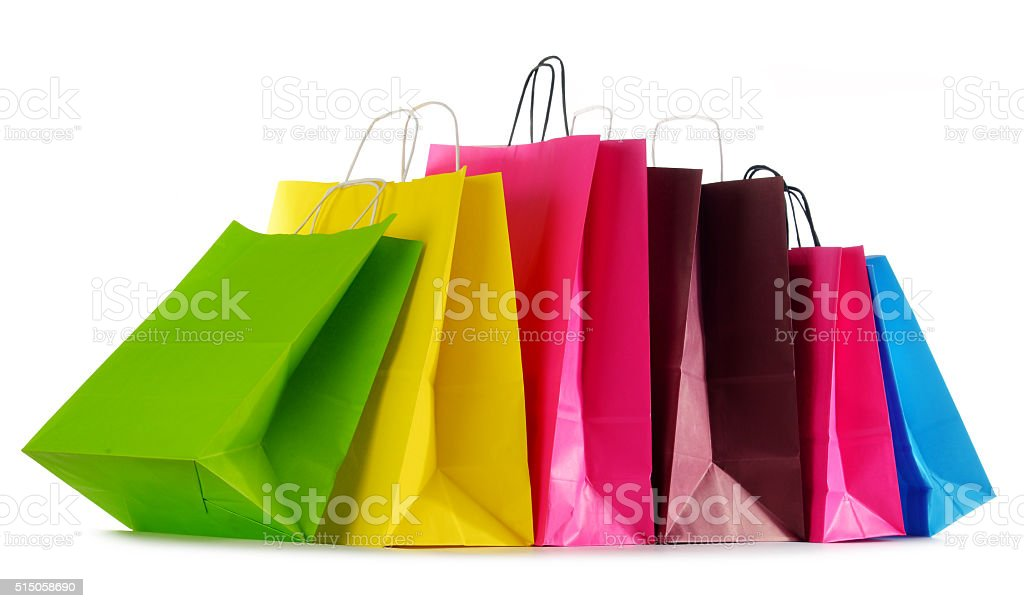 Colorful paper shopping bags isolated on white stock photo