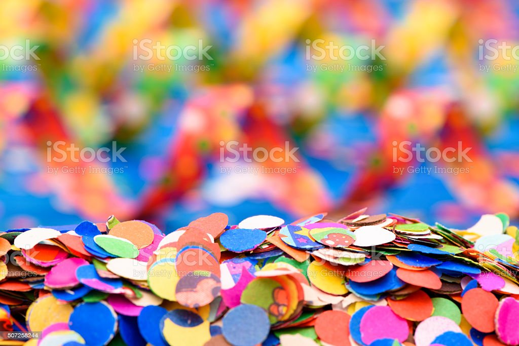 colorful paper streamer at carnival party stock photo