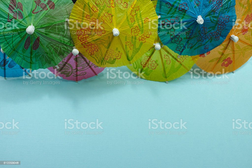 Colorful paper umbrellas, copy space, party concept stock photo