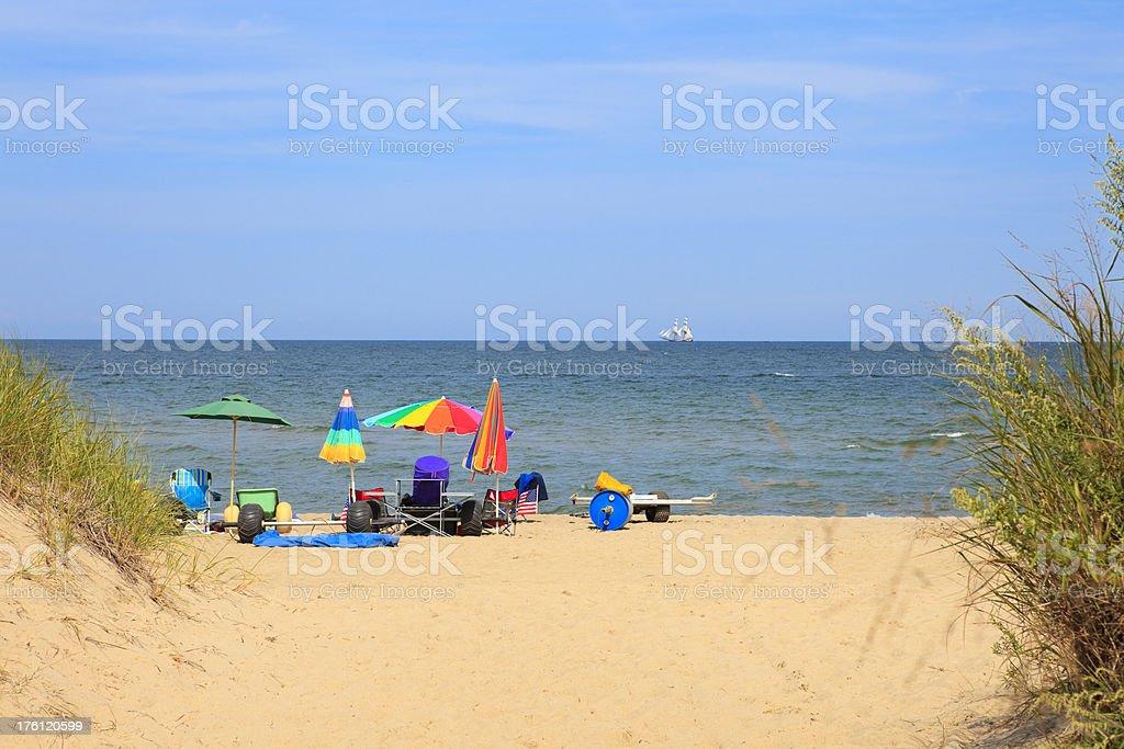 Colorful parasols at the beach stock photo