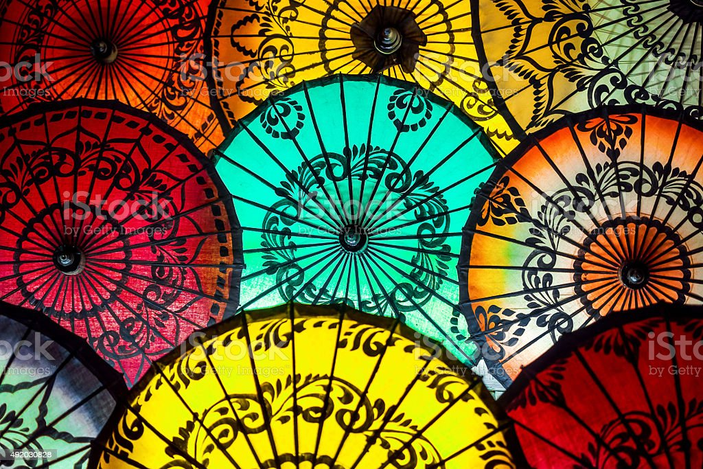 Colorful Parasols at Traditional Asian Market in Bagan, Myanmar (Burma) stock photo