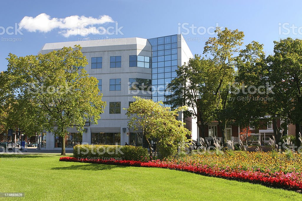 Colorful Park in an Office District stock photo