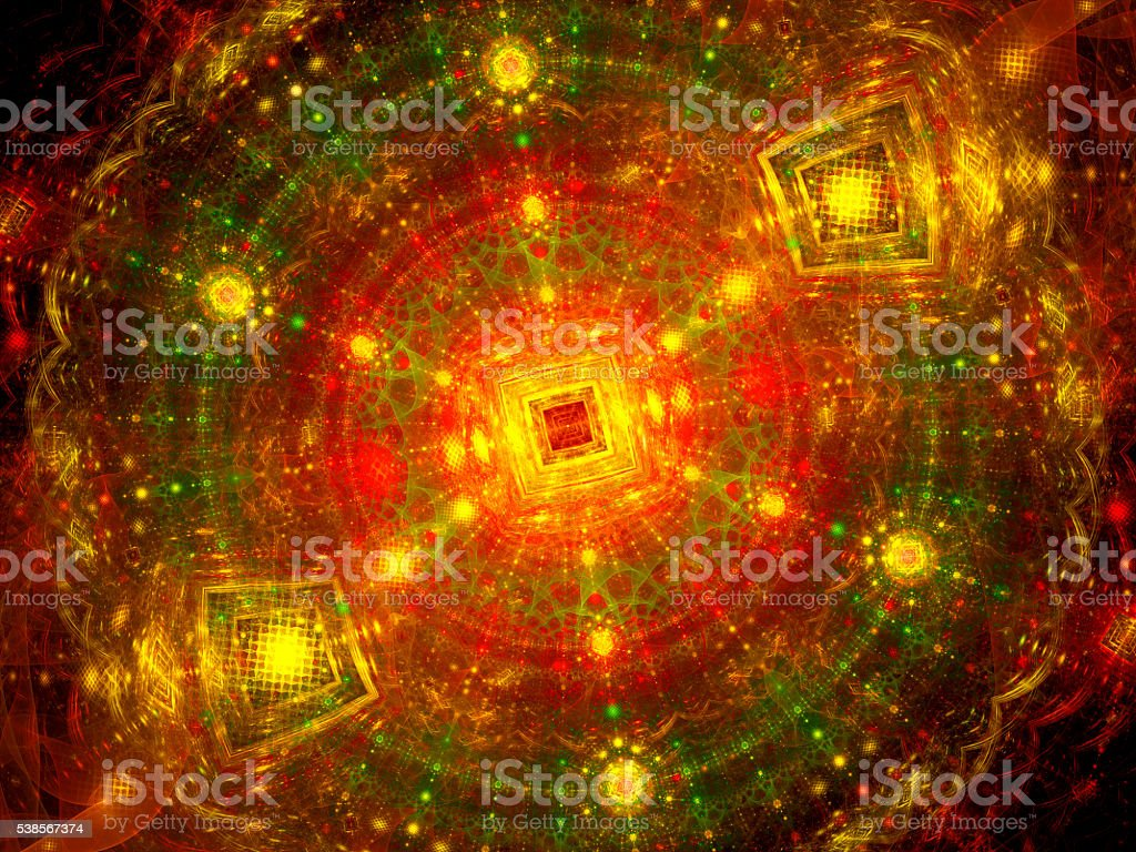 Colorful particles in large hardon collider fractal stock photo