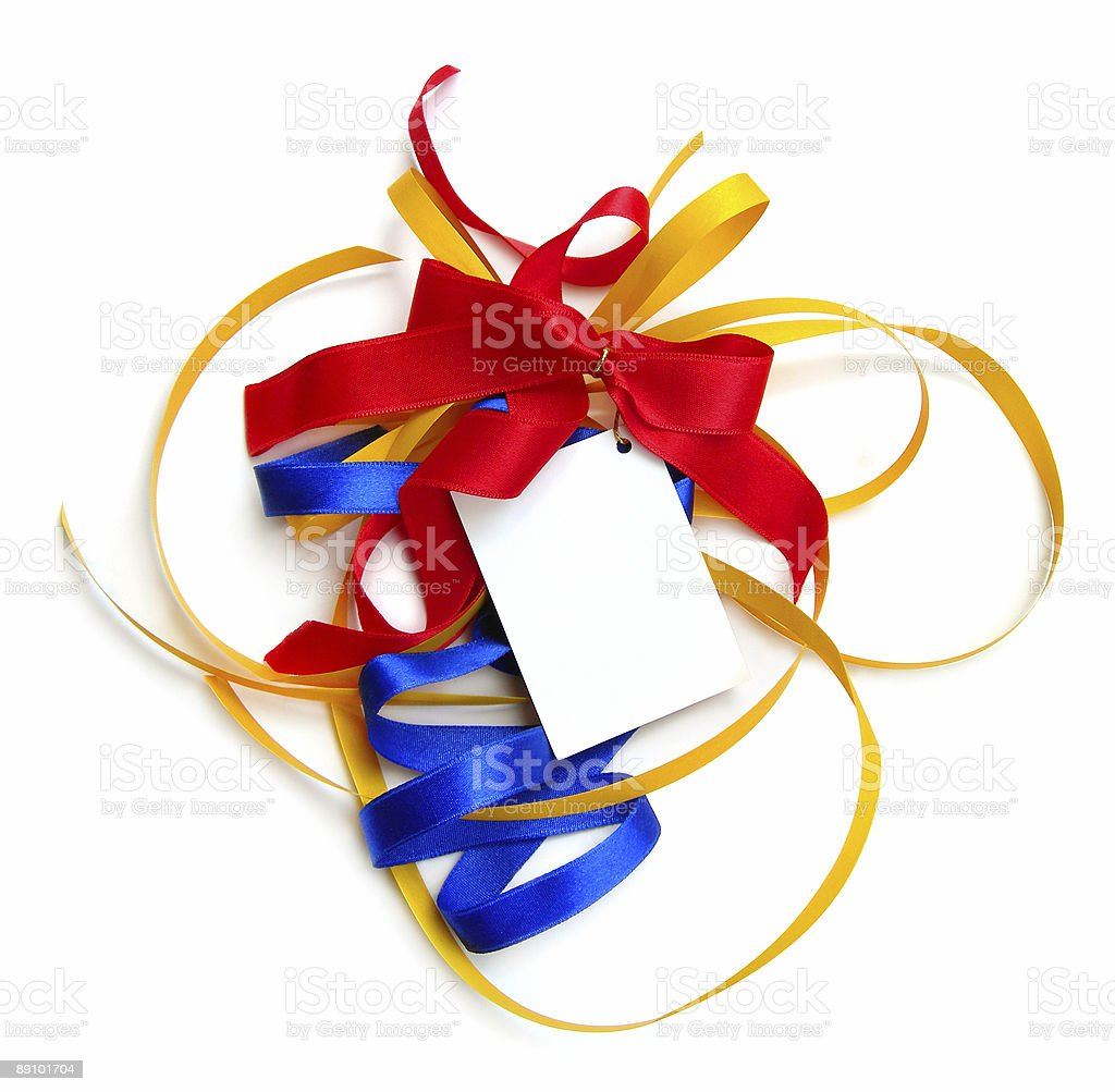 Colorful particolored present ribbons, card, isolated. royalty-free stock photo