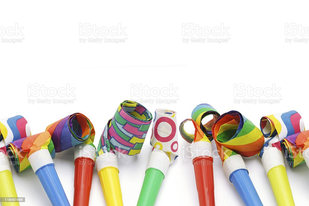 Colorful party blowers border royalty-free stock photo
