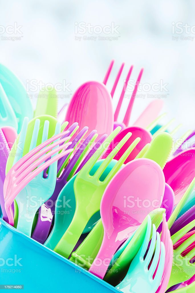Colorful Party Cutlery royalty-free stock photo