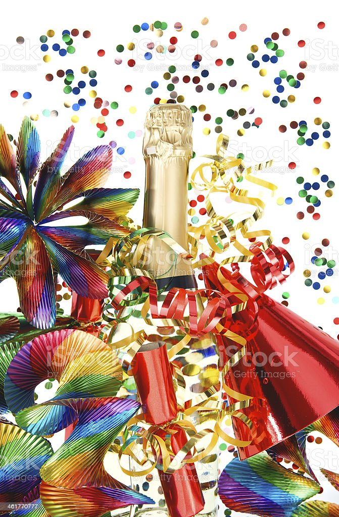 colorful party decoration with garlands and confetti stock photo