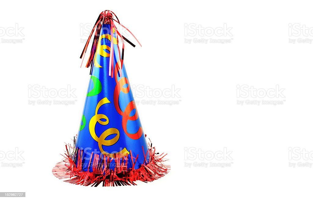 Colorful Party Hat On White stock photo