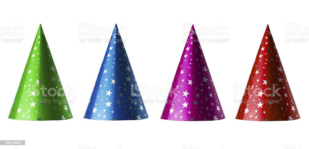 Colorful party hats stock photo